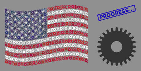 Cogwheel icons are combined into American flag abstraction with blue rectangle rubber stamp watermark of Progress... caption. Vector collage of USA waving official flag is made of cogwheel icons.