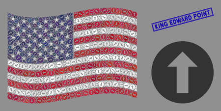 Rounded arrow icons are organized into USA flag collage with blue rectangle grunge stamp seal of King Edward Point caption. 일러스트