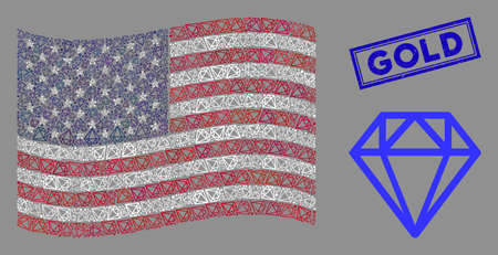 Diamond items are grouped into USA flag abstraction with blue rectangle rubber stamp seal of Gold caption. Vector collage of America waving state flag is created with diamond items.