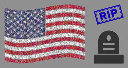 Grave icons are organized into United States flag collage with blue rectangle distressed stamp seal of RIP text. Vector collage of America waving state flag is combined of grave items. 일러스트