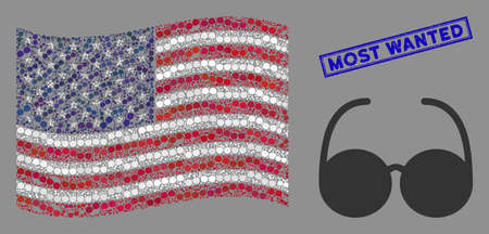 Spectacles items are arranged into USA flag stylization with blue rectangle rubber stamp watermark of Most Wanted caption. Vector concept of USA waving state flag is made of spectacles items. Vetores