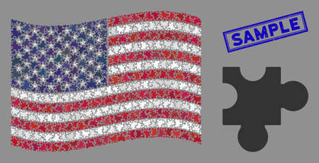 Plugin pictograms are combined into American flag collage with blue rectangle grunge stamp seal of Sample phrase. Vector collage of American waving state flag is created of plugin elements.
