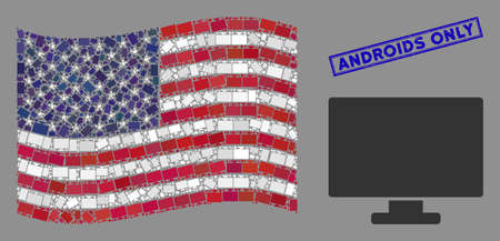 Computer display icons are arranged into American flag abstraction with blue rectangle distressed stamp seal of Androids Only phrase.