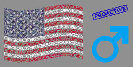 Mars symbol icons are grouped into United States flag mosaic with blue rectangle corroded stamp seal of Proactive phrase. Vector concept of American waving state flag is designed of Mars symbol icons. 向量圖像