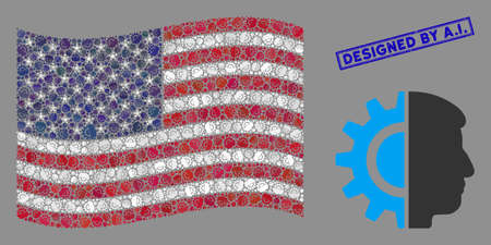 Android robotics symbols are organized into USA flag stylization with blue rectangle rubber stamp watermark of Designed by A.I. phrase.