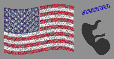 Human embryo icons are organized into United States flag mosaic with blue rectangle grunge stamp seal of Maternity Leave caption.