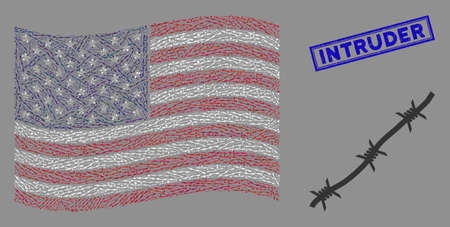 Barbed wire items are combined into American flag abstraction with blue rectangle corroded stamp seal of Intruder phrase. Vector collage of American waving official flag is made of barbed wire icons.