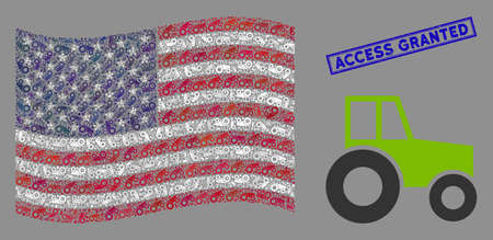 Wheeled tractor pictograms are combined into American flag mosaic with blue rectangle corroded stamp watermark of Access Granted text.