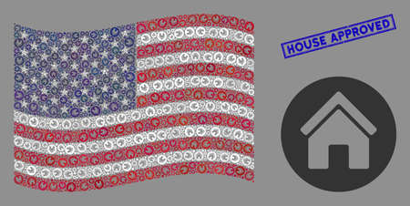 Real estate items are combined into USA flag stylization with blue rectangle rubber stamp watermark of House Approved phrase. Vector concept of USA waving flag is constructed from real estate items.