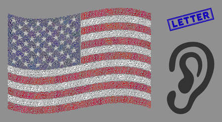 Ear items are arranged into United States flag collage with blue rectangle distressed stamp seal of Letter phrase. Vector concept of USA waving state flag is designed with ear items.