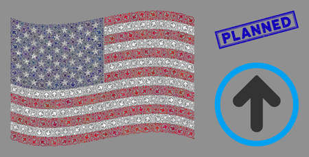 Rounded arrow icons are combined into USA flag stylization with blue rectangle grunge stamp seal of Planned caption. Vector concept of USA waving flag is created of rounded arrow items.