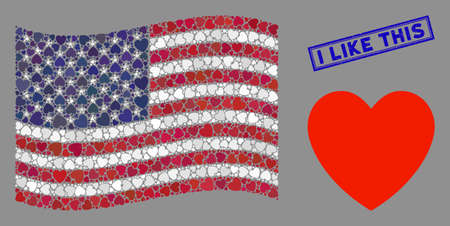 Love heart items are combined into United States flag collage with blue rectangle distressed stamp watermark of I Like This caption.