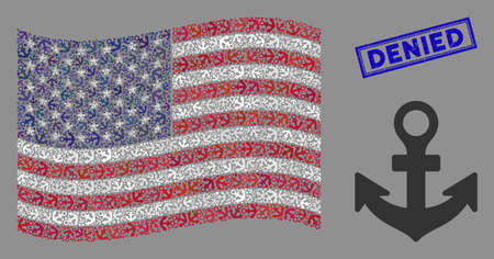 Anchor items are combined into American flag abstraction with blue rectangle rubber stamp watermark of Denied phrase. Vector concept of American waving state flag is designed with anchor items.