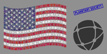 Network items are grouped into USA flag collage with blue rectangle distressed stamp watermark of Planetary Society text. Vector collage of USA waving state flag is constructed of network elements.