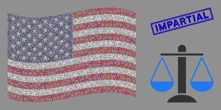 Weight scales pictograms are arranged into USA flag collage with blue rectangle grunge stamp seal of Impartial caption. Vector collage of USA waving flag is done with weight scales elements.