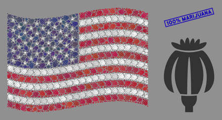 Opium poppy icons are grouped into American flag stylization with blue rectangle corroded stamp seal of 100% Marijuana caption. 向量圖像