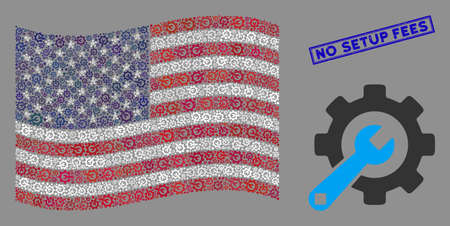 Service tools icons are organized into American flag abstraction with blue rectangle rubber stamp watermark of No Setup Fees caption. 向量圖像