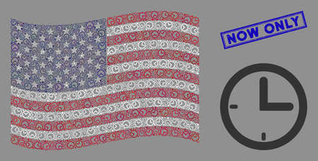Time items are combined into USA flag mosaic with blue rectangle grunge stamp seal of Now Only text. Vector concept of USA waving official flag is organized of time icons. Ilustrace