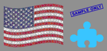 Component items are arranged into American flag stylization with blue rectangle corroded stamp seal of Sample Only phrase. Vector concept of USA waving state flag is combined with component items.