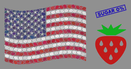 Strawberry items are arranged into American flag collage with blue rectangle distressed stamp seal of Sugar 0% phrase.