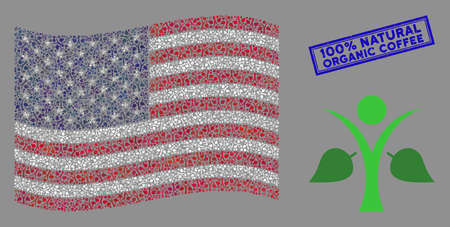 Ecology man pictograms are organized into United States flag collage with blue rectangle corroded stamp watermark of 100% Natural Organic Coffee caption. Stock Illustratie