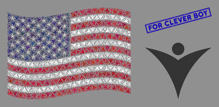 Futuristic man items are arranged into American flag abstraction with blue rectangle rubber stamp watermark of For Clever Boy text.