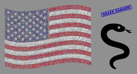 Snake icons are grouped into USA flag collage with blue rectangle distressed stamp watermark of Snake Danger! phrase. Vector collage of America waving official flag is created with snake icons.