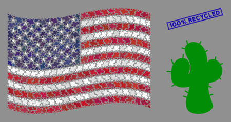 Cactus icons are arranged into American flag abstraction with blue rectangle grunge stamp seal of 100% Recycled phrase. Vector concept of American waving flag is composed with cacti elements.