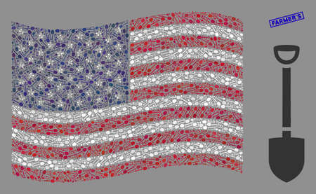 Shovel pictograms are combined into USA flag collage with blue rectangle distressed stamp seal of FarmerS phrase. Vector collage of America waving state flag is organized of shovel elements.