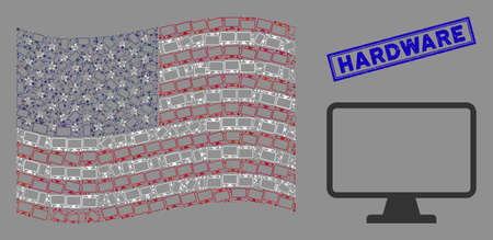 Monitor icons are arranged into American flag mosaic with blue rectangle rubber stamp watermark of Hardware phrase. Vector composition of American waving official flag is organized of monitor icons. 일러스트