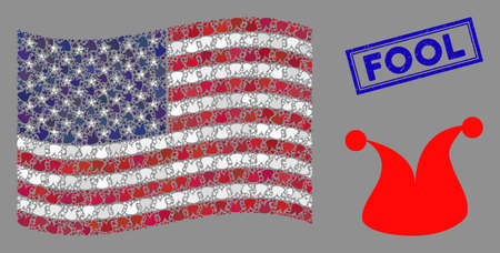 Joker hat symbols are combined into USA flag abstraction with blue rectangle grunge stamp watermark of Fool text. Vector concept of USA waving flag is designed of joker hat items.