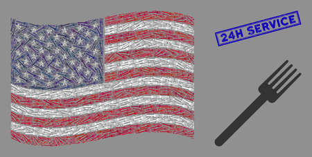 Fork items are combined into American flag mosaic with blue rectangle corroded stamp seal of 24H Service text. Vector collage of America waving official flag is designed of fork items.