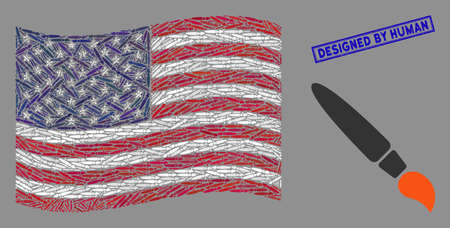 Brush items are organized into USA flag mosaic with blue rectangle grunge stamp watermark of Designed by Human phrase. Vector collage of USA waving flag is composed of brush items. Illustration