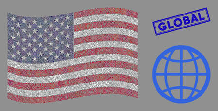 Globe icons are organized into American flag mosaic with blue rectangle distressed stamp watermark of Global caption. Vector concept of American waving state flag is organized of globe items. 向量圖像