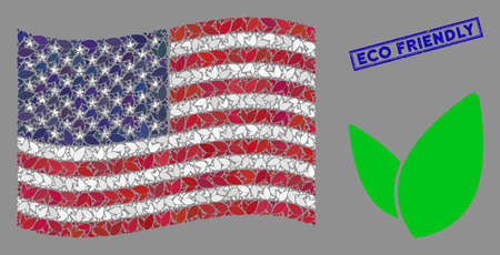 Floral sprout icons are combined into USA flag collage with blue rectangle grunge stamp seal of Eco Friendly phrase. Vector collage of USA waving official flag is designed from floral sprout elements. Çizim