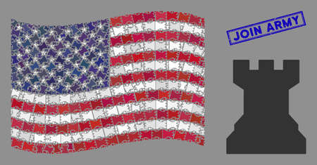 Chess tower icons are grouped into USA flag mosaic with blue rectangle distressed stamp watermark of Join Army text. Vector composition of American waving official flag is made with chess tower icons.