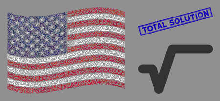Sqrt items are organized into United States flag collage with blue rectangle rubber stamp seal of Total Solution phrase. Vector collage of USA waving state flag is made with sqrt items.
