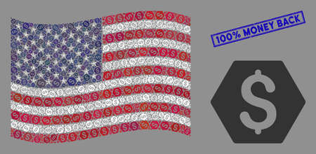 Finance symbols are organized into United States flag stylization with blue rectangle rubber stamp seal of 100% Money Back caption.