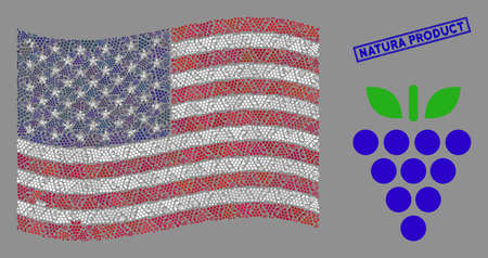 Grapes symbols are combined into American flag mosaic with blue rectangle corroded stamp seal of Natura Product phrase. Vector composition of American waving state flag is designed of grapes elements.