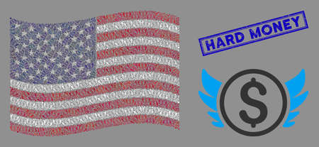 Angel investment items are organized into USA flag abstraction with blue rectangle rubber stamp seal of Hard Money text. Vector collage of USA waving state flag is designed of angel investment icons.