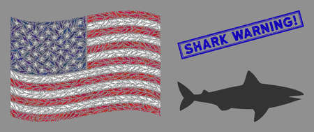 Shark items are organized into United States flag abstraction with blue rectangle distressed stamp seal of Shark Warning! phrase.