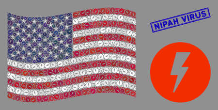 Electricity symbols are combined into American flag collage with blue rectangle grunge stamp seal of Nipah Virus phrase. Vector collage of USA waving state flag is created with electricity icons.