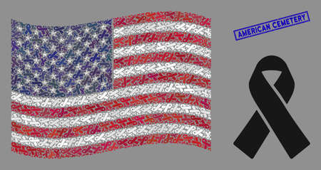 Mourning ribbon pictograms are organized into USA flag mosaic with blue rectangle corroded stamp watermark of American Cemetery text.