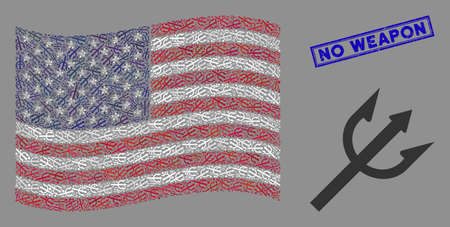 Trident fork items are organized into American flag stylization with blue rectangle grunge stamp seal of No Weapon text. Vector composition of American waving flag is formed of trident fork items.
