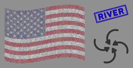 Vortex arrows items are arranged into USA flag abstraction with blue rectangle rubber stamp watermark of River caption. Vector collage of USA waving state flag is composed with vortex arrows items.