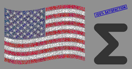 Sum symbols are grouped into USA flag collage with blue rectangle rubber stamp seal of 100% Satisfaction text. Vector collage of USA waving official flag is made of sum icons.