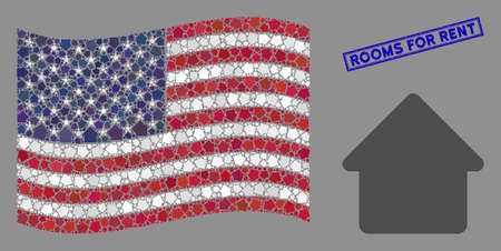 Cabin icons are arranged into American flag stylization with blue rectangle distressed stamp watermark of Rooms for Rent text.