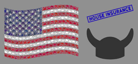 Horned helmet icons are grouped into American flag stylization with blue rectangle corroded stamp watermark of House Insurance caption.