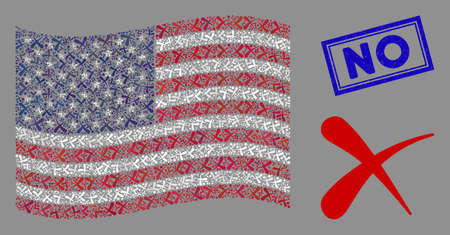 Erase pictograms are organized into American flag collage with blue rectangle rubber stamp watermark of No text. Vector collage of America waving official flag is designed of erase icons. Stock Illustratie
