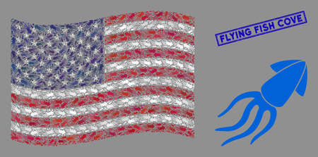 Squid symbols are combined into USA flag collage with blue rectangle corroded stamp seal of Flying Fish Cove phrase. Vector collage of USA waving official flag is created of squid icons. Illustration